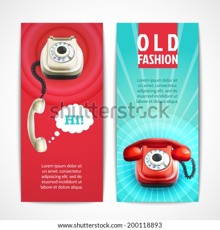 Old fashion telephone retro technology banners horizontal isolated vector illustration - stock vector