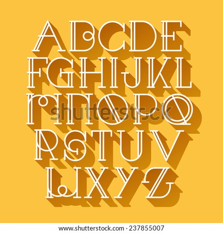Old fashion vintage font with long shadows  - stock vector