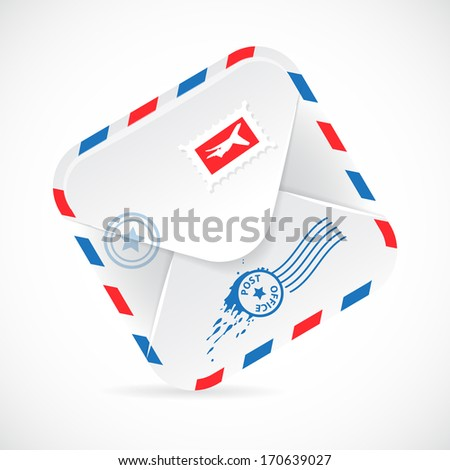 Old-fashioned Airmail Realistic Paper Envelope. - stock vector