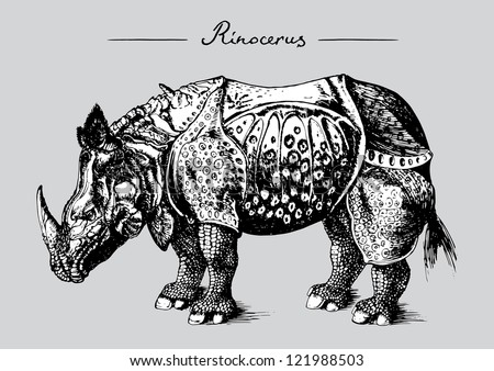 Old-fashioned animal illustration on grey background - stock vector