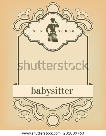 Old fashioned design template with nanny - stock vector