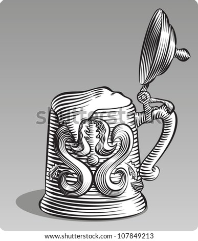 Old fashioned etched style illustration of an old fashioned beer stein with its lid open and filled with beer. In black and white. - stock vector