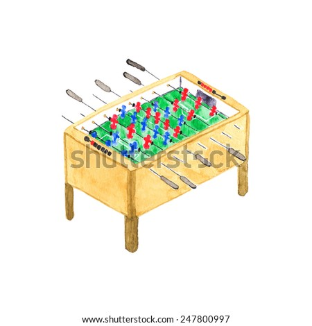 Old fashioned foosball or kicker table. Watercolor object on the white background, aquarelle. Vector illustration. Hand-drawn decorative element useful for invitations, scrapbooking, design. - stock vector