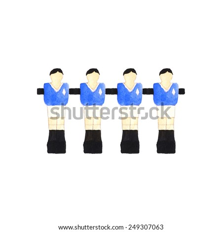 Old fashioned  foosball players. Watercolor object on the white background, aquarelle. Vector illustration. Hand-drawn decorative element useful for invitations, scrapbooking, design.  - stock vector