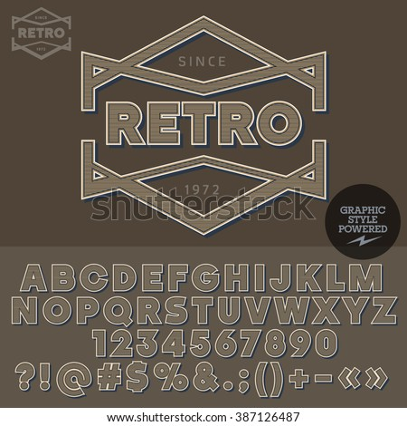 Old-fashioned logotype for retro bar.  Vector set of letters, numbers and symbols. - stock vector