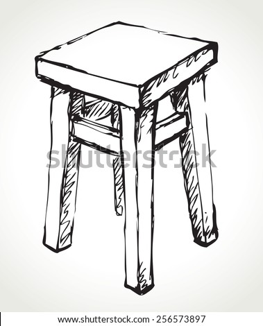 Old-fashioned painted dining taboret. Vector monochrome freehand ink drawn background sketchy in art scrawl antiquity style pen on paper with space for text - stock vector