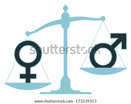 Old-fashioned pan scale with male and female icons showing an inequality between the sexes with the male carrying the most weight as the balance rests in an unbalanced position - stock vector