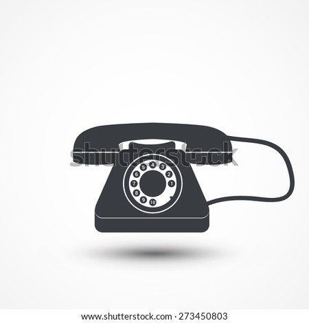 Old-fashioned phone icon on white isolated background - stock vector