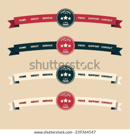 Old-fashioned site's menu - stock vector