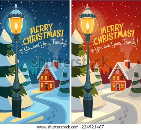 Old fashioned street light. Christmas card \ poster \ banner. Vector illustration. - stock vector