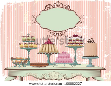 Old-fashioned table is set with different cakes. All objects are grouped and separated to layers - stock vector