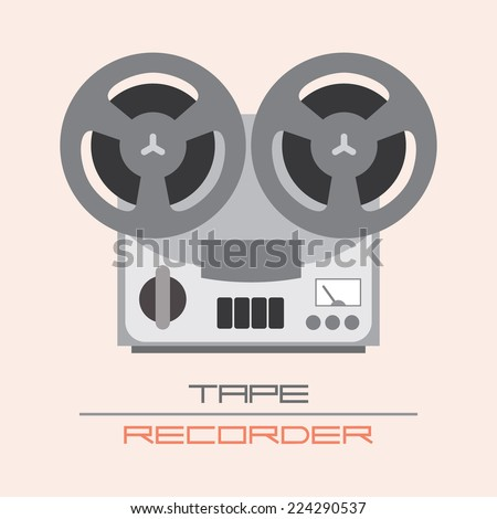 Old Fashioned Tape Recorder vector illustration. Isolated icon. - stock vector