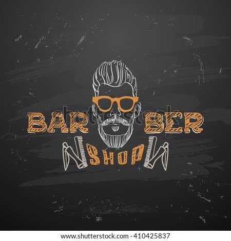 Old fashioned vintage barber shop  pole. vintage design template. Face with Mustaches, sunglasses,eyeglasses- vector illustration. Hipster hair and beards, fashion - stock vector