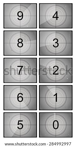 Old film countdown with scratches. Vector illustration - stock vector