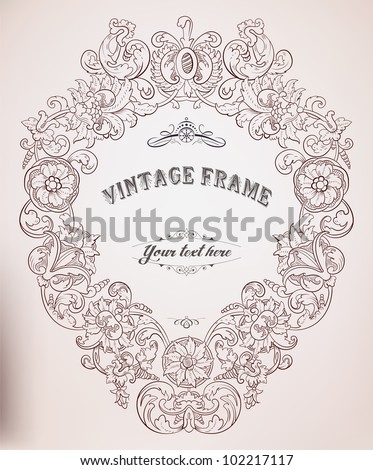 Old frame - stock vector