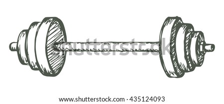 Old free flex gray gear crossbar isolated on white background. Freehand outline ink hand drawn picture sketchy in retro scrawl style pen on paper. Closeup view with space for text - stock vector