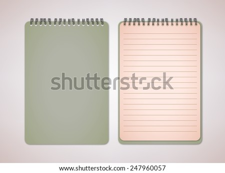 Old Green Color Blank Notebook Vector  - stock vector