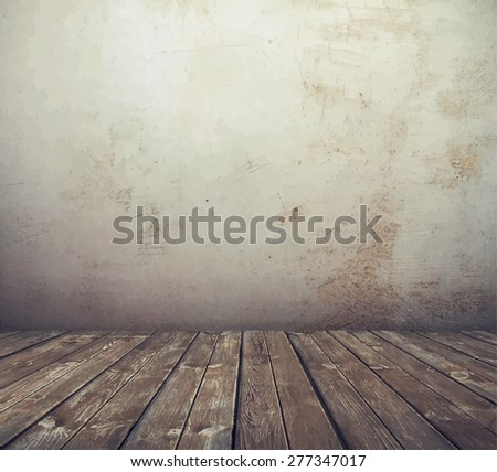 old grunge interior, vintage room, vector - stock vector