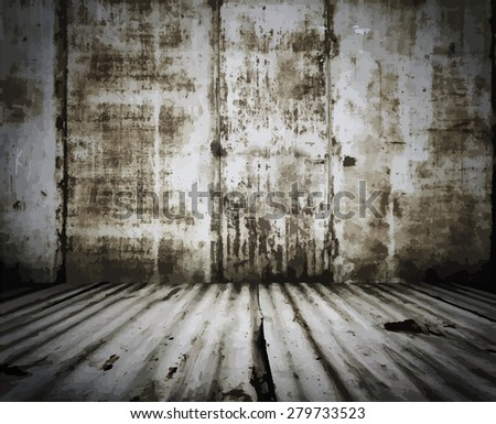 old grunge metallic room, vintage room, vector - stock vector