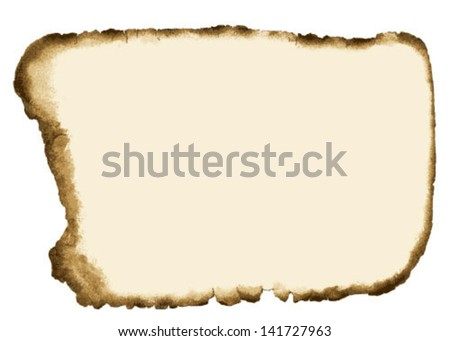 Old Grunge Paper with Burnt Edges Isolated on white background. Vector Illustration. - stock vector