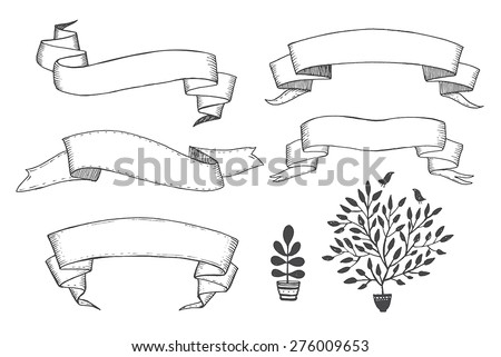 Old hand drawn ribbon banner - for scrapbook and design in vector - stock vector