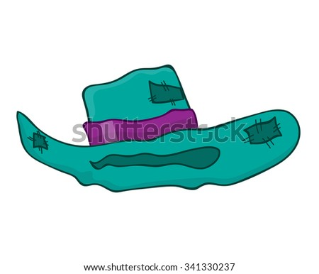 old hat isolated illustration on white background - stock vector