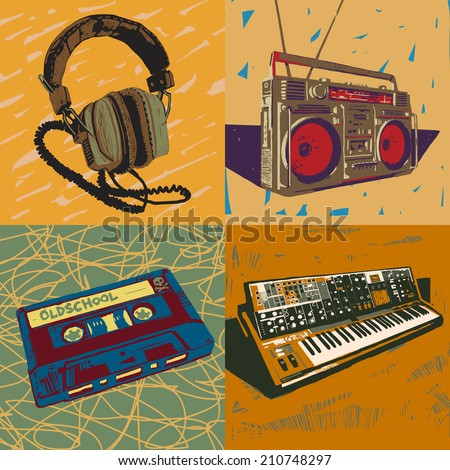 Old headphones, ghetto blaster, tape cassette and synthesizer vector graphic illustrations set - stock vector
