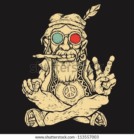 old hippie smokes marijuana and shows the peace symbol. vector illustration - stock vector
