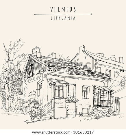 Old house in Vilnius, Lithuania, Europe. Vector illustration. Isolated freehand drawing. Travel sketch. Greeting card poster template. Postcard design with hand lettered title and space for text - stock vector