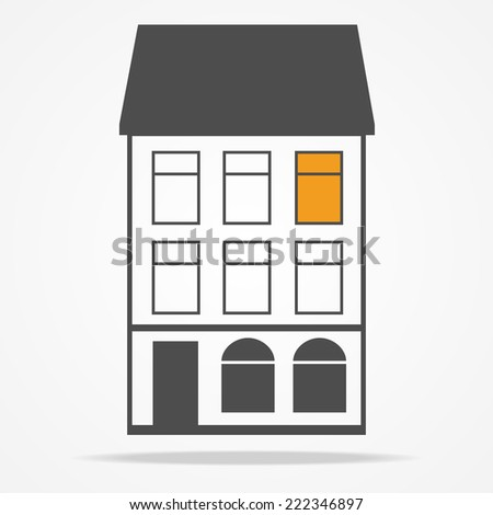 Old houses with mansard roof. Flat hotel facade isolated on white. Creative design logo for your vintage cafe. Graphic style. Vector illustration background. - stock vector