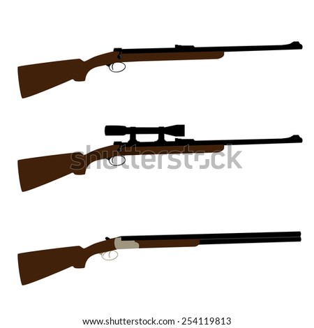 Old hunting rifle, sniper rifle and shooting shotgun vector set isolated, military weapon - stock vector