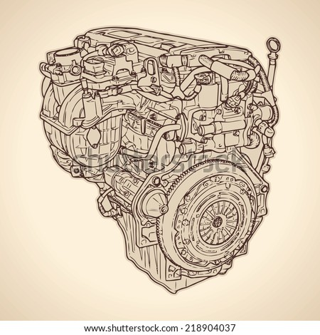 Old internal combustion engine, drawing. Vector - stock vector