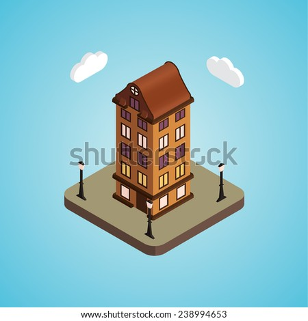 Old isometric house - stock vector