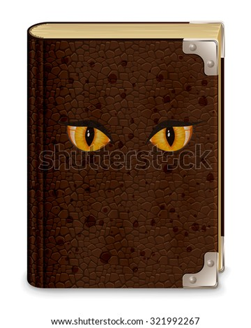 Old leather book with eyes, isolated on white background, illustration. - stock vector