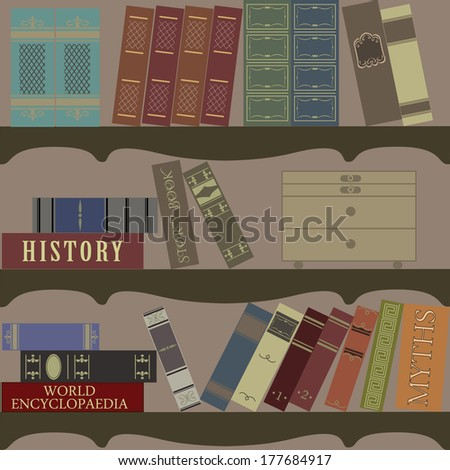 old library with vintage classic books and wooden box - stock vector