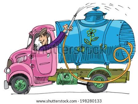 old lorry watering cistern - cartoon - stock vector
