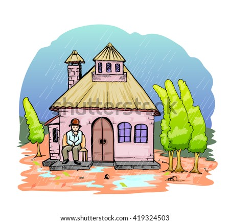 old man and old house cartoon hand draw illustration - stock vector