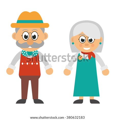 old man and old woman - stock vector