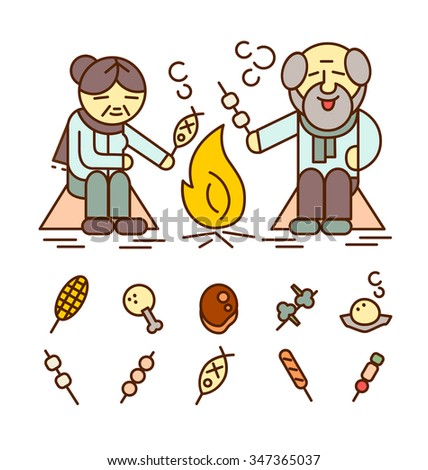 Old man and old woman grill foods,Vector icons. - stock vector