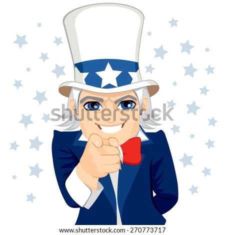 Old man disguised as Uncle Sam representing wants you concept with pointing hand and stars on background - stock vector