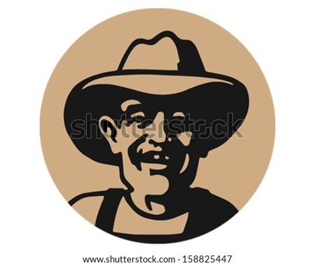 Old Man Farmer - stock vector