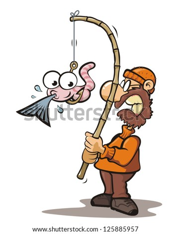 Old man fishing with fishing rod and bait eating fish - stock vector