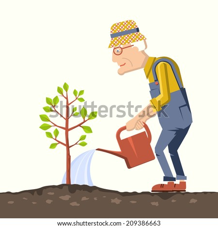 old man gardener with watering can.Pensioner isolated illustration - stock vector