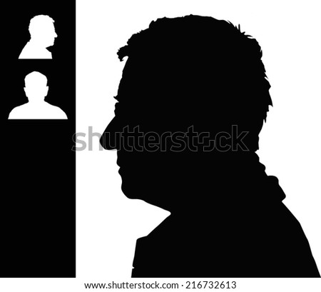 Old man head silhouette - stock vector