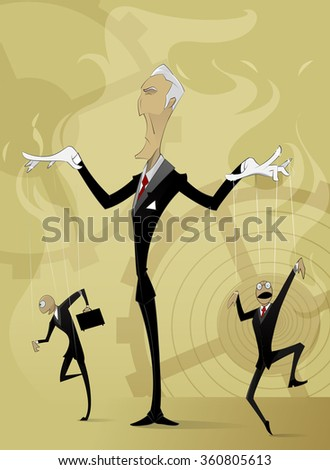 Old man manipulates by two other businessmen on abstract background. Conceptual image manipulation, leadership and teamwork in business and life. Vector - stock vector