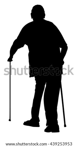 Old man person walking with stick. Vector character isolated on white background. Senior mature, old people active life. Old man person walking with stick. Grandpa vector silhouette. injured, disabled - stock vector