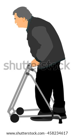 Old man person walking with walker. Vector character isolated on white background. Senior mature, old people active life. Person walking with stick. Grandpa vector. - stock vector