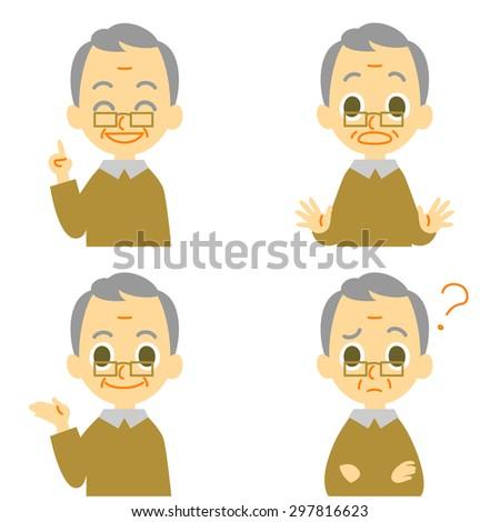 Old man, speaking,surprised,confused - stock vector