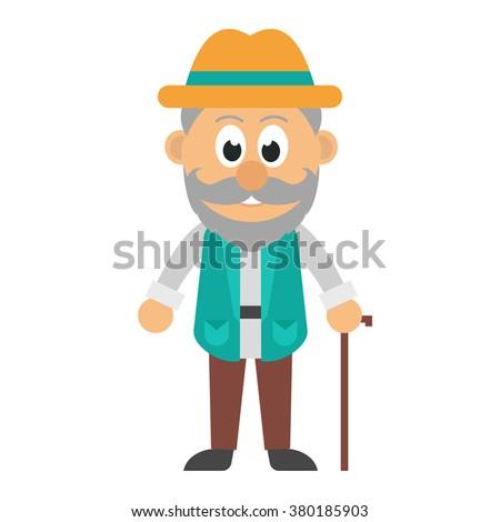 old man with a beard - stock vector