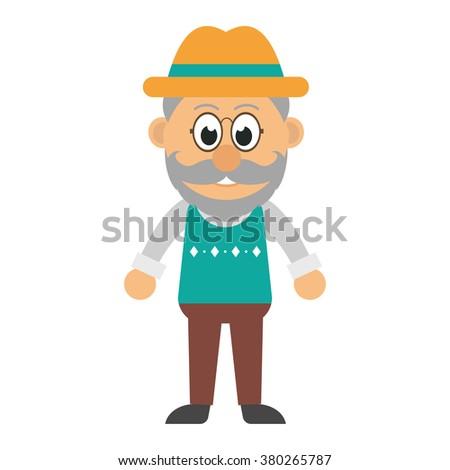 old man with a beard vector - stock vector